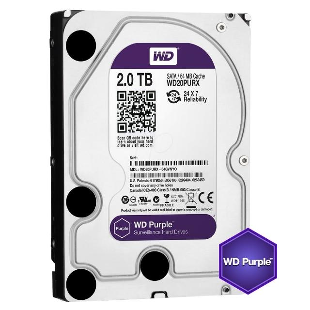 【搭SanDisk 64GB 記憶卡】WD 威騰 紫標 2TB 監控專用 3.5吋 SATA硬碟(WD20PURZ)
