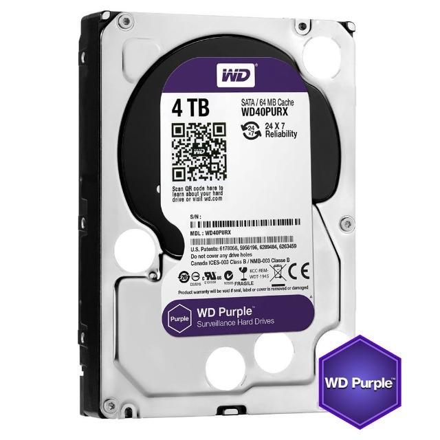 【搭SanDisk 128GB 記憶卡】WD 威騰 紫標 4TB 監控專用 3.5吋 SATA硬碟(WD40PURZ)