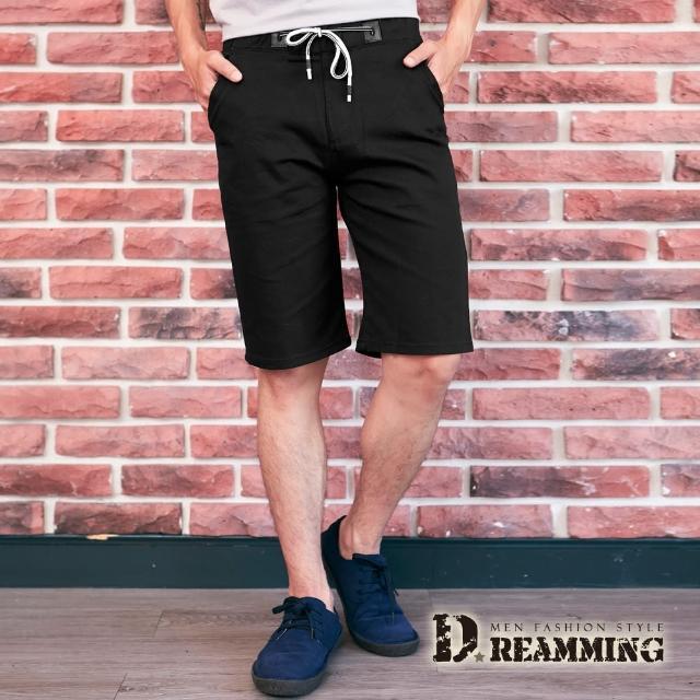 【Dreamming】極簡素面鬆緊抽繩休閒短褲 透氣 彈性(黑色)