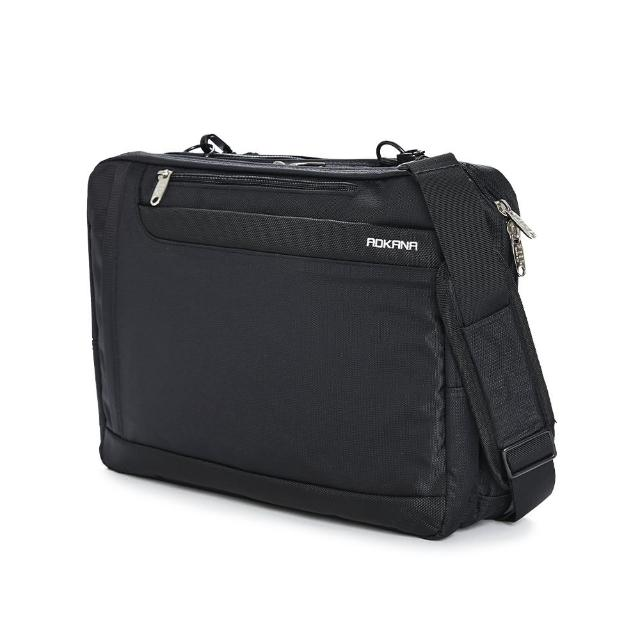【AOKANA 奧卡納】MIT台灣製 多隔層三用包 可入15.6吋電腦公事包 後背包 斜側肩包 手提 黑色 02-008