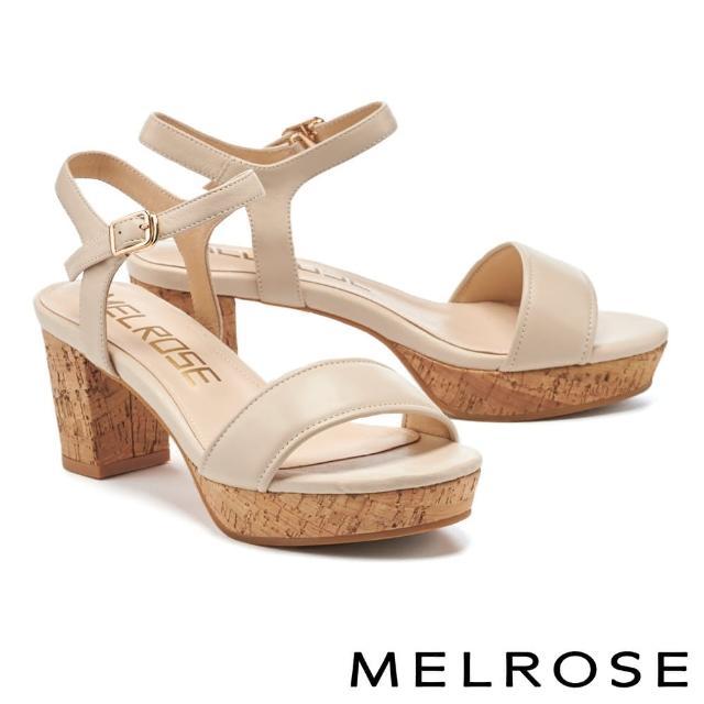 【MELROSE】簡約休閒風羊皮一字粗高跟涼鞋(米)