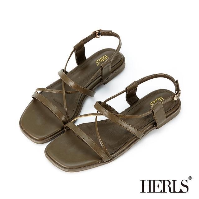 【HERLS】涼鞋-一字交叉後帶平底涼鞋(墨綠色)