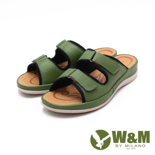 【W&M】女 皮革黏釦帶 厚底雙帶拖鞋 女鞋(霧感綠)