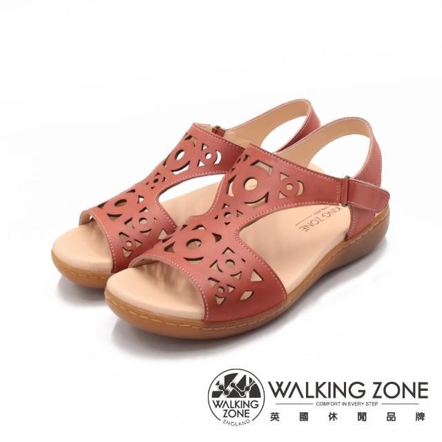 【WALKING ZONE】女 淑女縷空黏釦帶 止滑休閒涼鞋 女鞋(橘)