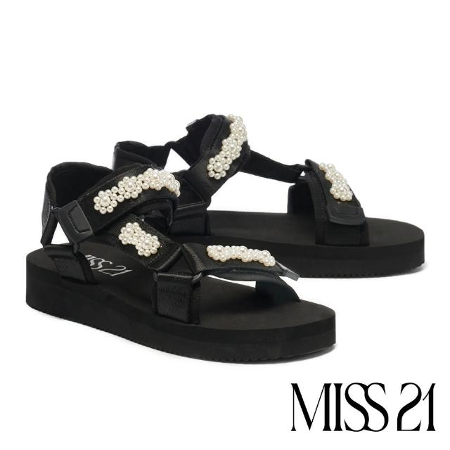 【MISS 21】俏麗別緻小花珍珠緞布魔鬼氈厚底涼鞋(黑)