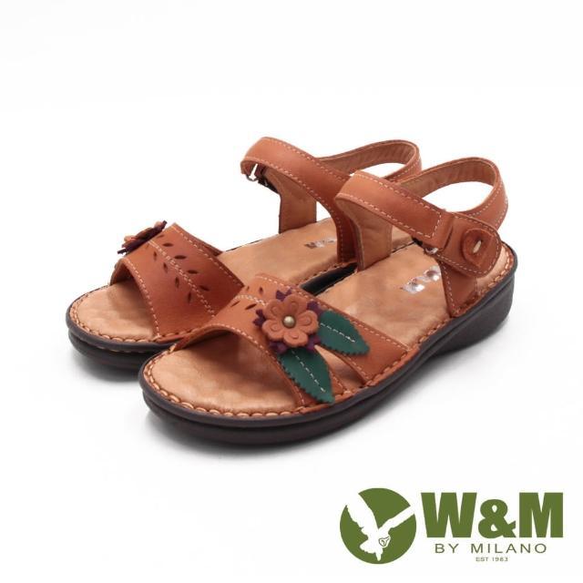 【W&M】女 霧感皮革黏釦帶 厚底休閒涼鞋 女鞋(卡其)