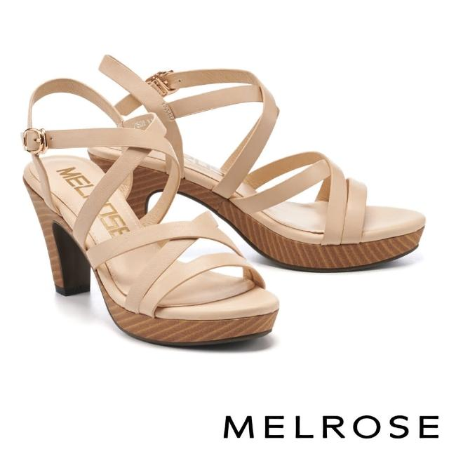 【MELROSE】簡約時髦交叉寬帶美型高跟涼鞋(米)