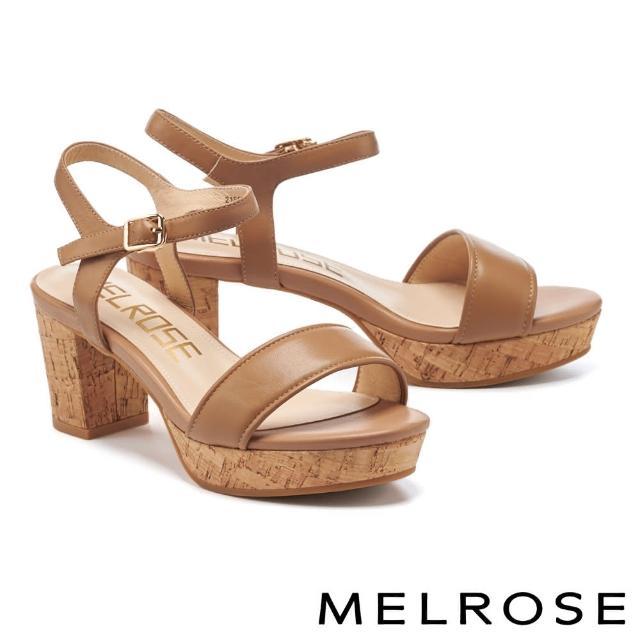 【MELROSE】簡約休閒風羊皮一字粗高跟涼鞋(棕)
