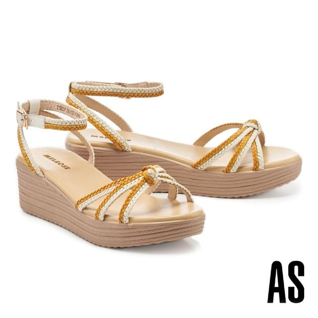 【MELROSE】愜意編織交叉繫帶楔型高跟涼鞋(黃)