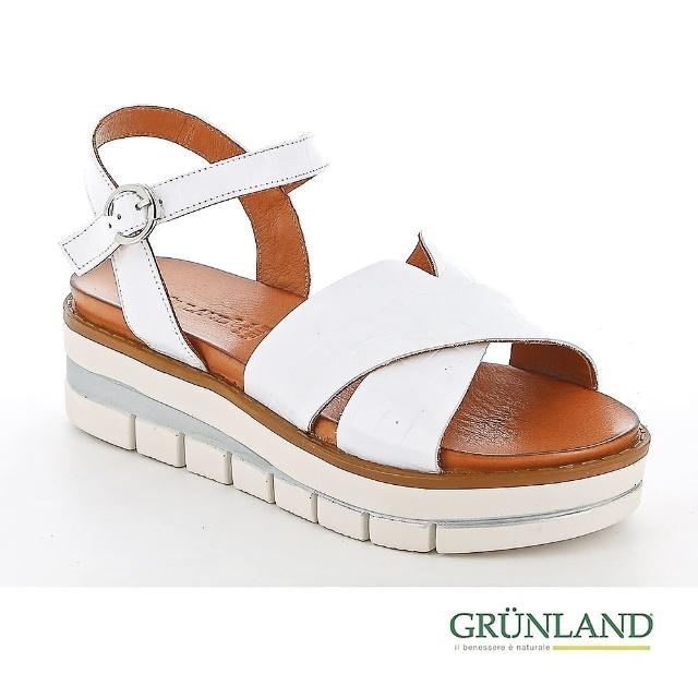 【GRUNLAND】義大利真皮鱷魚壓紋χ蛋糕厚底個性涼鞋 油漆白(義大利進口健康舒適鞋 限量款)