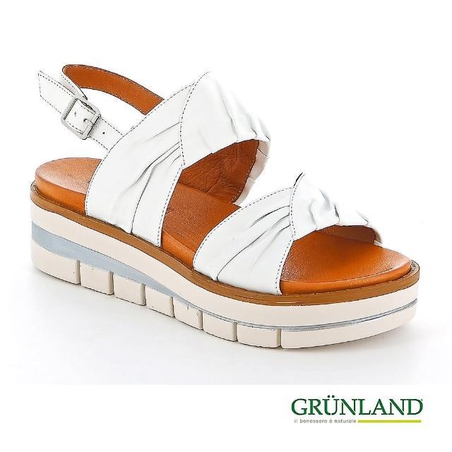 【GRUNLAND】義大利超柔軟NAPPA真皮蛋糕厚底個性涼鞋 油漆白(義大利進口健康舒適鞋 限量款)