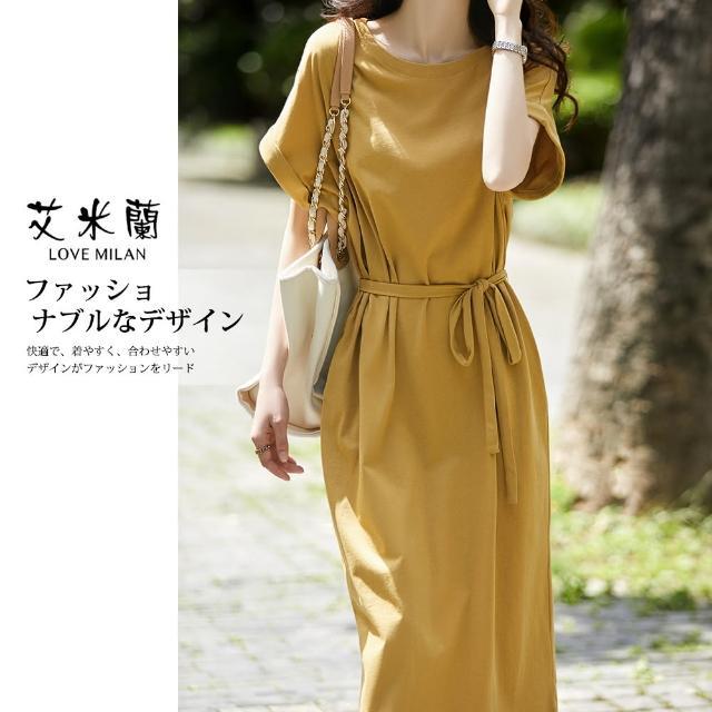 【艾米蘭】韓版純色百搭圓領造型洋裝(M-XL)