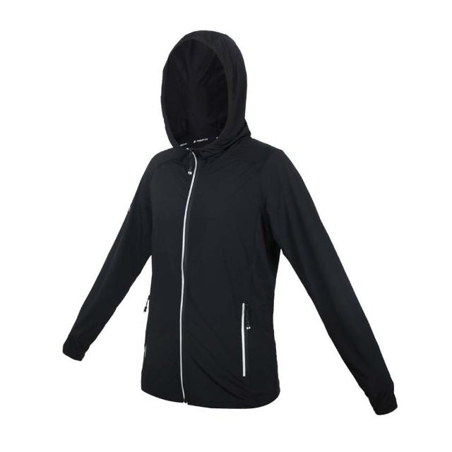 【FIRESTAR】女彈性防曬連帽外套-涼感 運動 慢跑 路跑 上衣 黑銀(JL175-10)
