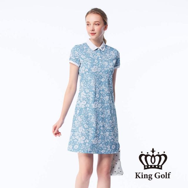 【KING GOLF】女款小碎花印花LOGO刺繡涼感收腰短袖連身裙(藍色)