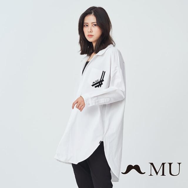 【maru.a】MU 裝飾口袋前短後長顯瘦上衣(白色)