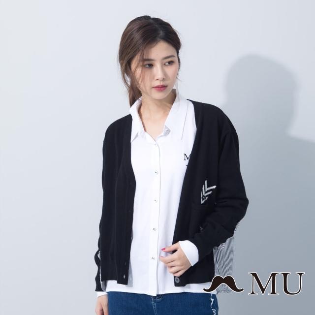 【maru.a】MU 舒適拼接針織外套(黑色)