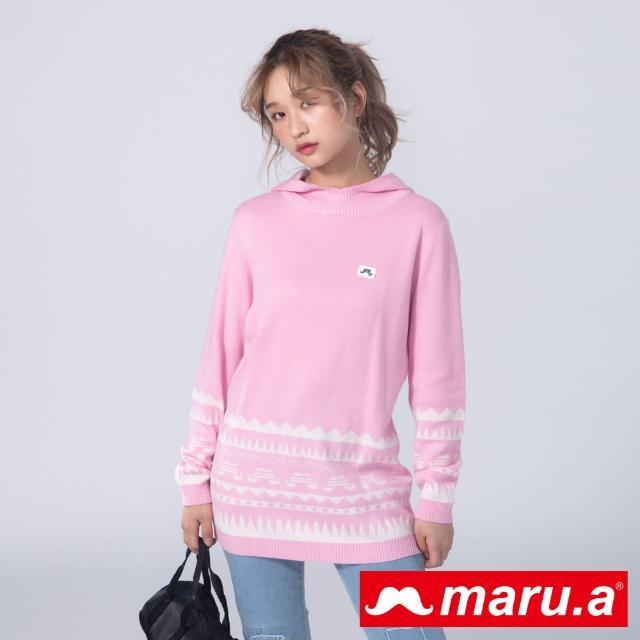 【maru.a】胸口鬍子標籤下擺圖案裝飾針織連帽上衣(粉色)