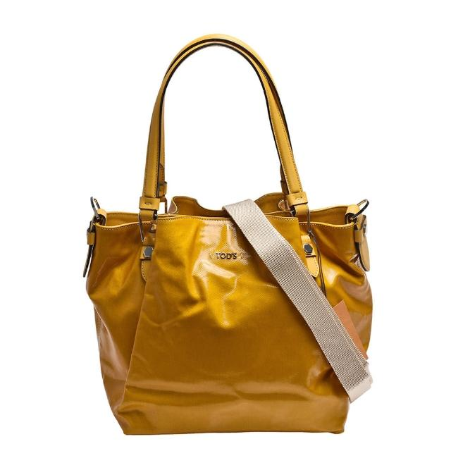 【TOD'S】金屬LOGO牛皮飾邊亮漆皮帆布磁釦三層兩用包(中-黃XBWAMPE0100CGRG211)