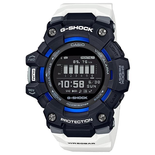 【CASIO 卡西歐】G-SHOCK 跑步好夥伴計步藍芽運動電子錶-黑X白(GBD-100-1A7)