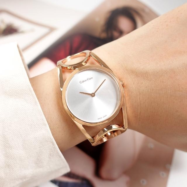 【Calvin Klein 凱文克萊】優雅時尚 鏤空設計 手環式 不鏽鋼手錶 銀白x鍍玫瑰金 32mm(K5U2S646)