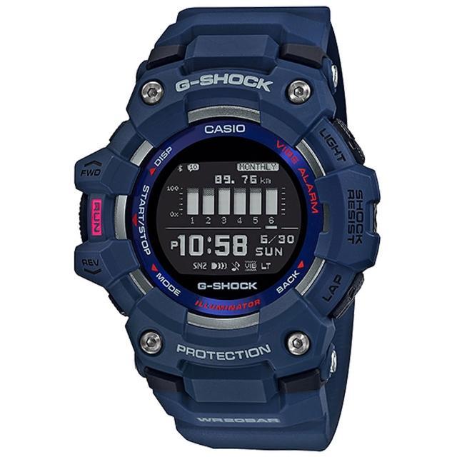 【CASIO 卡西歐】G-SHOCK 跑步好夥伴計步藍芽運動電子錶-藍(GBD-100-2)