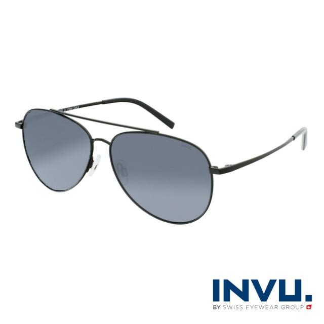 【INVU】瑞士時尚水滴型飛行員偏光太陽眼鏡(啞光黑 B1121A)