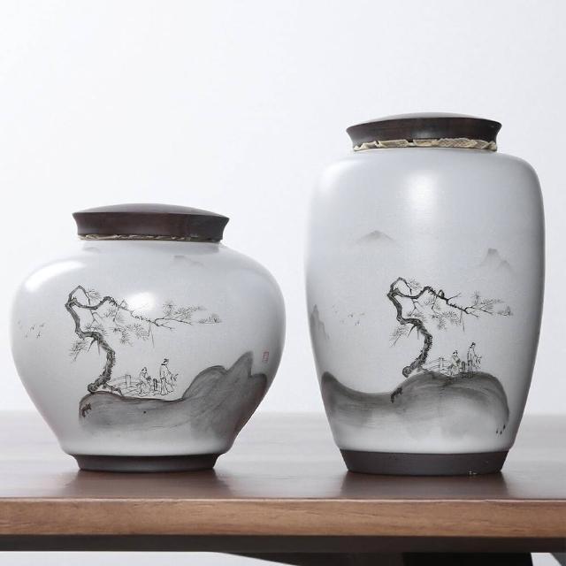 【古緣居】悠然山水陶瓷木蓋密封茶葉罐儲物罐套組(高罐+矮罐)