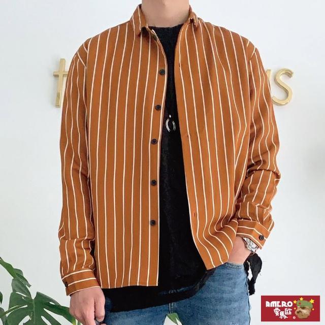【AMERO】限時特賣 正韓男裝 長袖抗皺條紋襯衫(情侶裝 柔膚布料 微落肩)