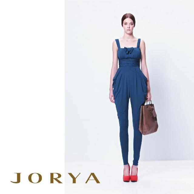 【JORYA】13TQ003方領肩帶蝴蝶結微簍空連身長褲裝