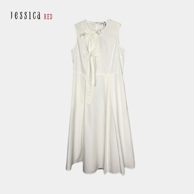 【Jessica Red】圓領綁帶收腰無袖長洋裝(白色)