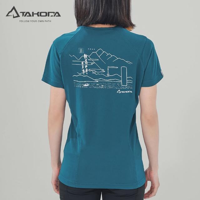 【TAKODA】環保機能短袖印花系列-新高山岳經典T恤 女款 暗岩藍(吸濕排汗/舒適涼感/抗菌吸臭)