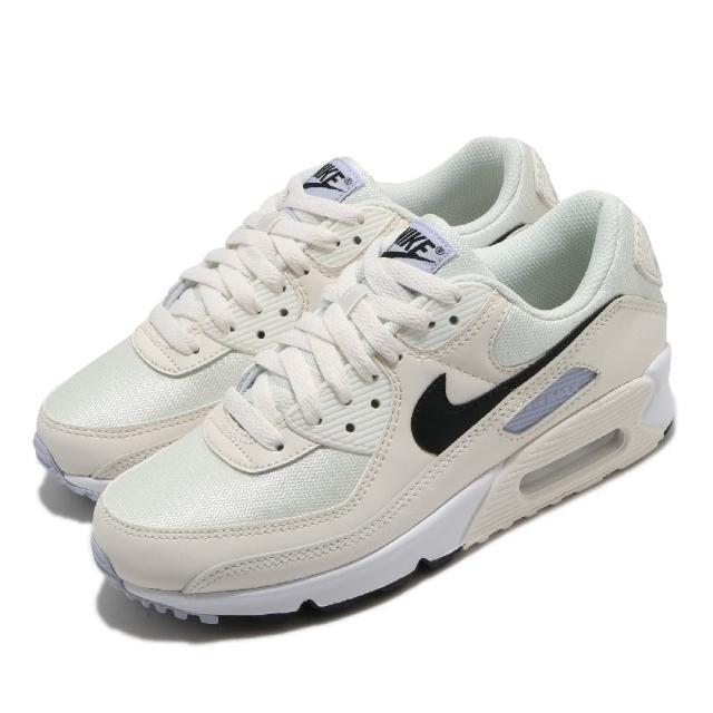 【NIKE 耐吉】休閒鞋 Air Max 90 運動 女鞋 經典款 氣墊 舒適 皮革 簡約 穿搭 米白 黑(CZ6221-100)