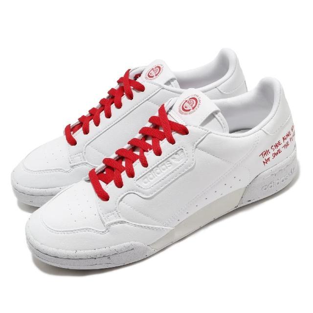 【adidas 愛迪達】休閒鞋 Continental 80 復古 男女鞋 愛迪達 三葉草 皮革鞋面 穿搭 白 紅(FU9787)