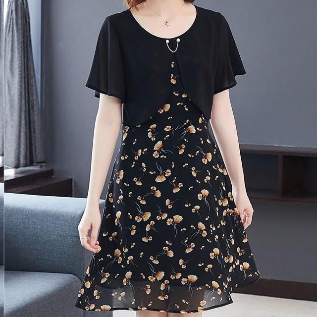 【麗質達人】8010雪紡印花假二件洋裝(L-5XL)