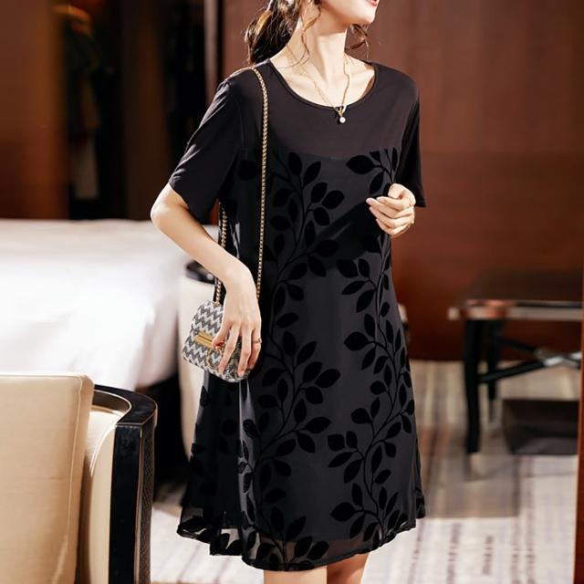 【麗質達人】7589黑色短袖洋裝(L-5XL)
