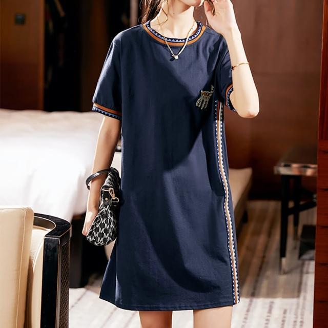 【麗質達人】7582藍色棉質短袖洋裝(L-5XL)