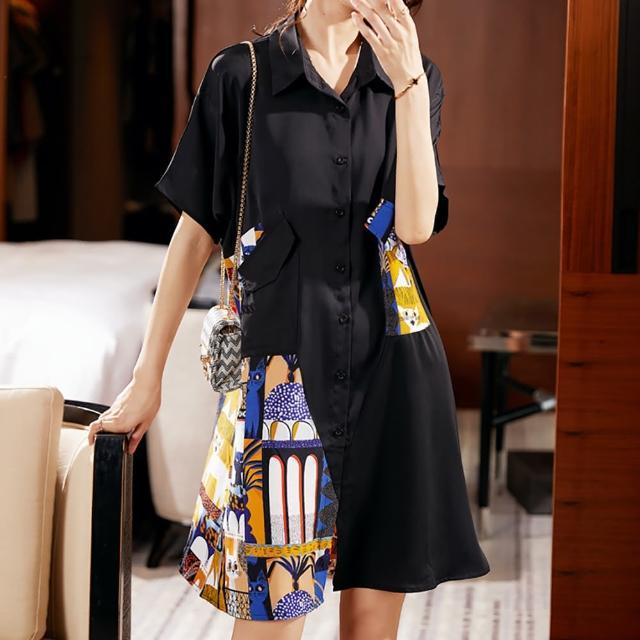【麗質達人】7571黑色印花短袖洋裝(L-5XL)