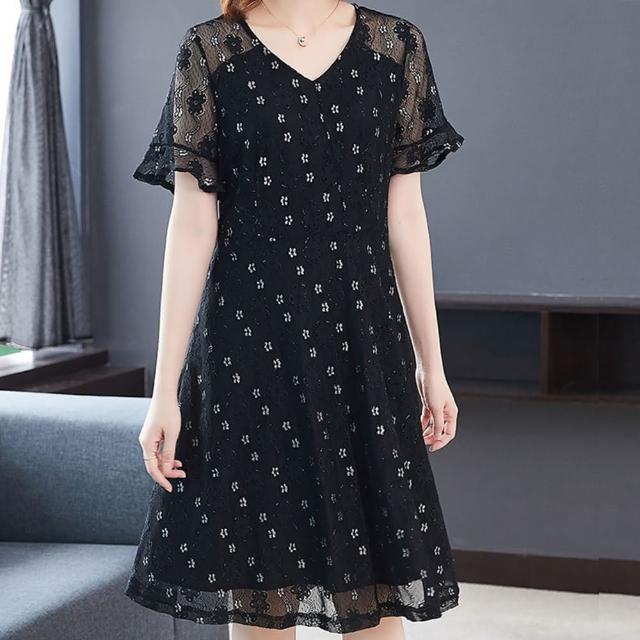 【麗質達人】6542蕾絲拼接假二件洋裝(L-5XL)