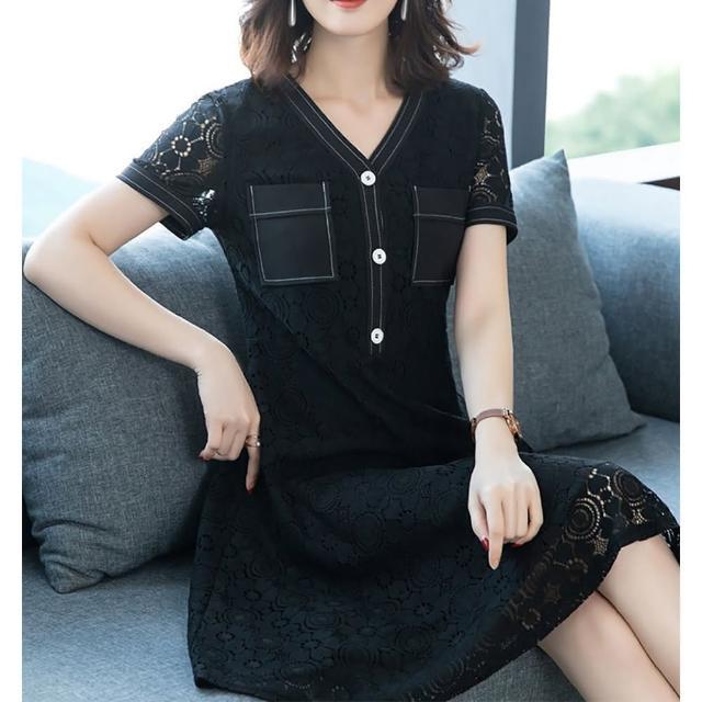 【麗質達人】91201黑色假二件洋裝(L-5XL)