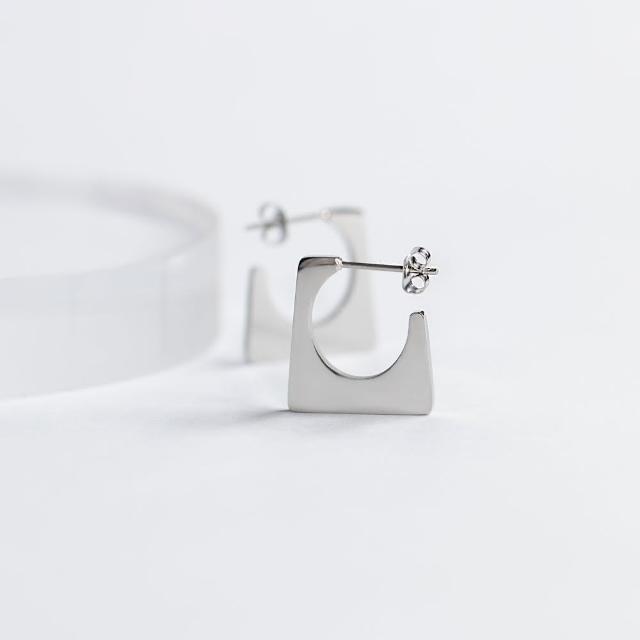 【ZANZAN 冉冉】抗敏鋼針-工業風方形金屬C字耳環(抗敏耳環)