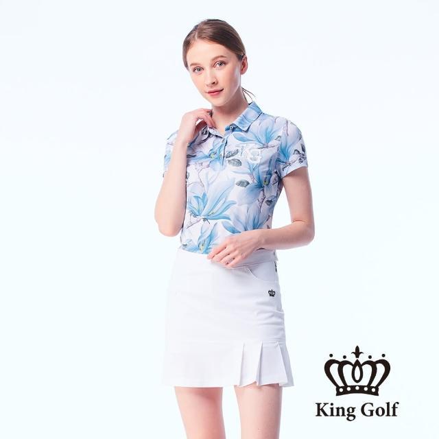【KING GOLF】女款夏日暈染花朵印花刺繡涼感短袖POLO衫(藍色)
