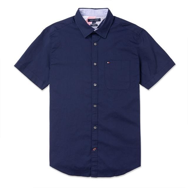 【Tommy Hilfiger】TOMMY 經典刺繡Logo短袖襯衫-深藍色