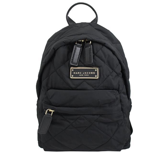 【MARC JACOBS 馬克賈伯】品牌鐵塊LOGO菱格紋空氣尼龍後背包(黑)