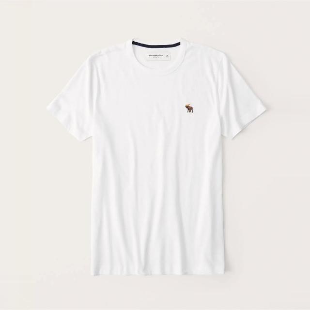 【Abercrombie & Fitch】A&F 經典圓領刺繡彩小鹿素面短袖T恤-白色