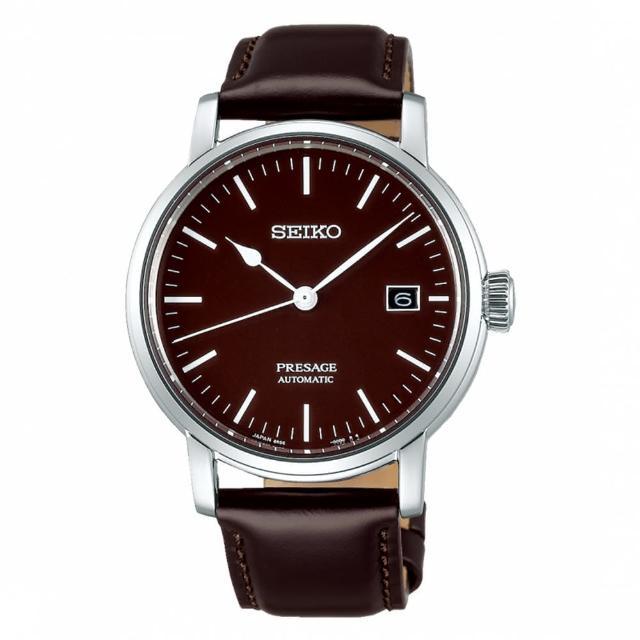 【SEIKO 精工】琺瑯工藝機械腕錶/透視背蓋/40mm/黑(SPB115J1)