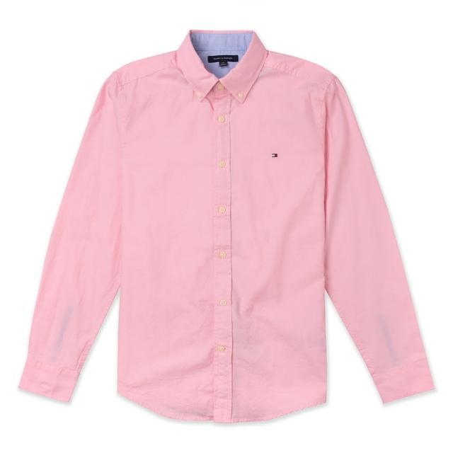 【Tommy Hilfiger】TOMMY 經典刺繡Logo長袖襯衫-粉色
