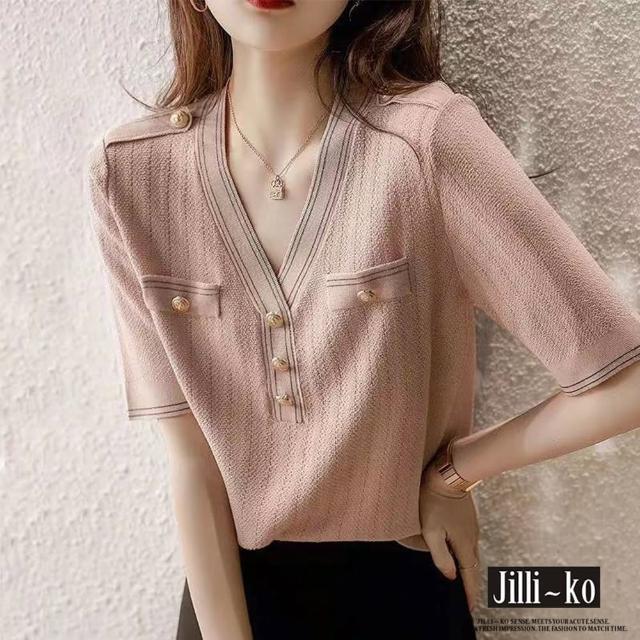 【JILLI-KO】時尚通勤女子薄款針織衫-F(粉)
