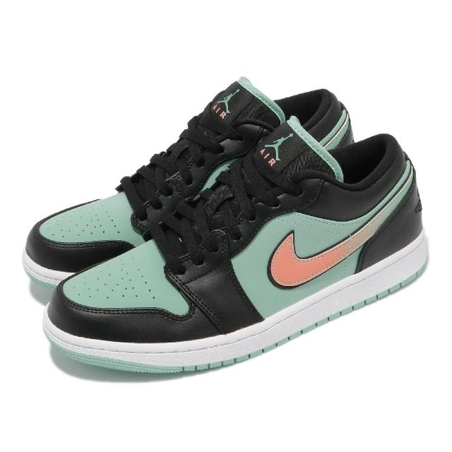 【NIKE 耐吉】休閒鞋 Air Jordan 1 Low SE 男鞋 經典 喬丹一代 皮革 簡約 漸層logo 黑 綠(CK3022-301)