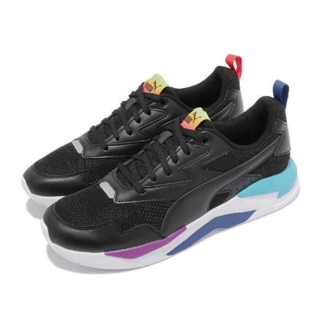 【PUMA】休閒鞋 X-Ray Lite Rainbow 男女鞋 皮革鞋面 情侶鞋穿搭 彩虹 黑 彩(36886301)