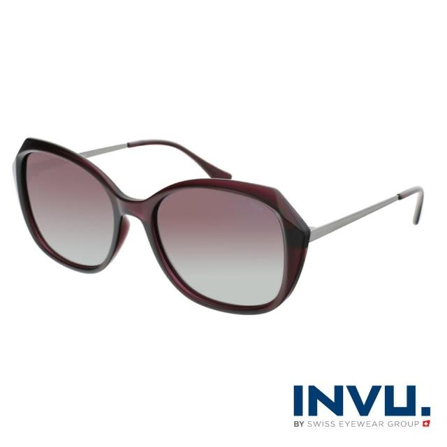 【INVU】瑞士幾何稜角設計偏光太陽眼鏡(黑醋栗紅 B2118C)